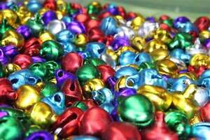 100-Small-Jingle-Bells-8mm-Red-Silver-Gold-Green-Purple