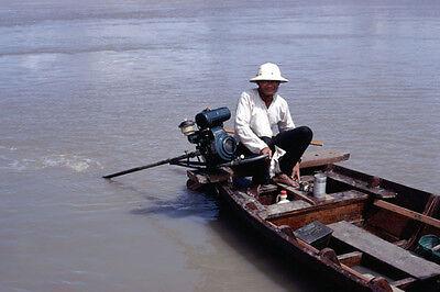 Vietnam 1971- River Boat Pilot With His Long-Tailed Boat - Saigon River - Saigon