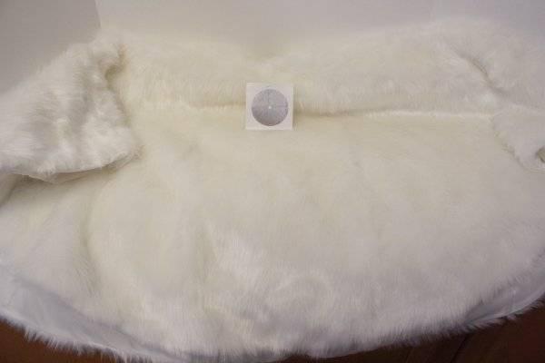 "White Faux Fur Christmas Tree Skirt 49"" Shabby Cottage Chic Christmas Decoration"