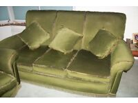 3 Piece Suite. Solid Wood. Good Clean Condition. 3 Seat Sofa Settee and 2 Chairs