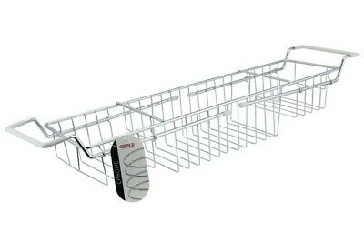 Chrome Extendable Shelf Tray Bath Tub Rack Shower Tidy Caddy Storage Holder NEW - Chrome Bath Caddy