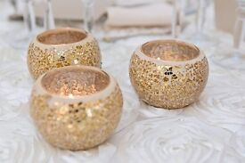 27 x Stunning Glass Gold Mosaic Tealight Votive Candle Holders for Wedding