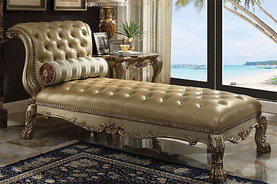 - NEW CLEMENTINE ANTIQUE GOLD FINISH WOOD BYCAST LEATHER CHAISE LOUNGE CHAIR