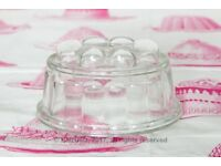 Three vintage glass jelly moulds