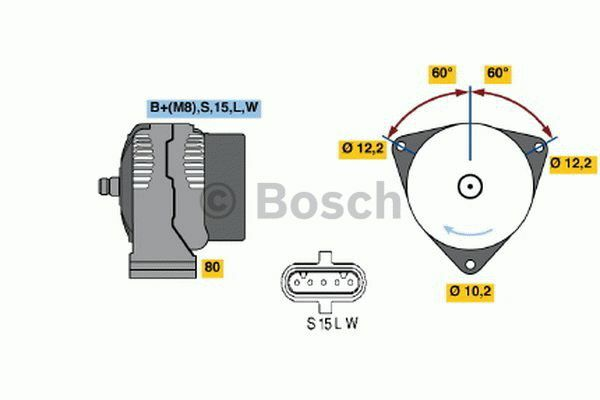 Fit with AUDI 80 Bosch Alternator 0986042590 2