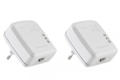 Sagemcom Fast Plug 201 Duo 200 Mbps Kompakter Powerline-Adapter Internet to TV