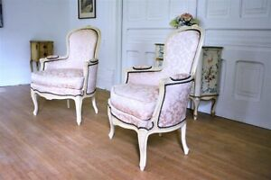 Antique Vintage French Chic Bergere Chairs