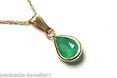 """9ct Gold Small Green Agate Teardrop Pendant and 18"""" Chain Made in UK Gift Boxed"""