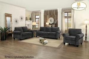 Traditional 3 Pc Grey Fabric Sofa Set on Sale (BD-2406)