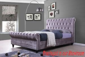 STYLISH LAVENDER UPHOLSTERED BED AVAILABLE IN QUEEN OR KING SIZE