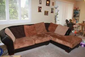 Suede sectional
