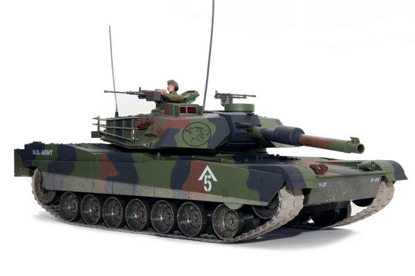 Large Scale RC M1A1 Abrams Tank Forest Camo, Lights, Sound, Shoots - Hobby Engin