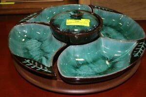 VINTAGE Blue Mountain Pottery veggie chip dip tray