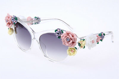 Dolce & Gabbana DG 4180 Flowers in Crystal Clear Sunglasses Authentic 100% UV
