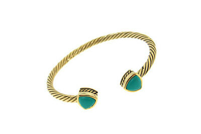 bracelet yellow gold plate cable bangle genuine turquoise fits all cuff fine (All Fine Jewelry Bracelet)