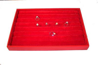 Large Red Slotted Ring Pad In Tray Box Display Plush Felt Cushion For Jewelry