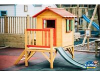 Wooden Outdoor Playhouse with Slide