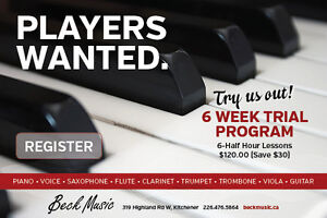 Music Lessons 6 Week Trial - only $120!