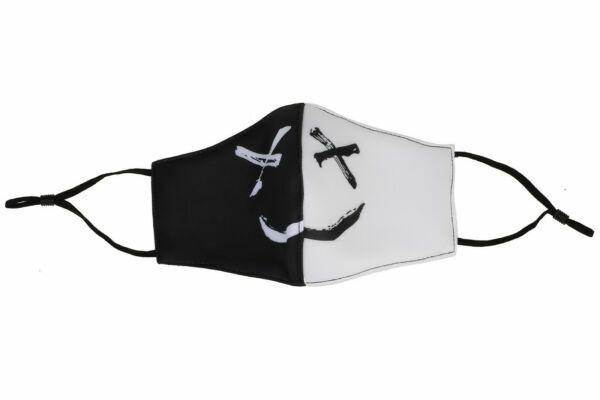 2pcs Black White Happy Smile Fashion Designer Cotton Masks Half Face Mouth Cover Accessories