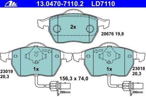 ATE 13.0470-7110.2 Bremsbelagsatz Scheibenbremse ATE Ceramic