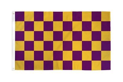 Checkered Purple & Gold Flag Banner 3' x 5' Polyester