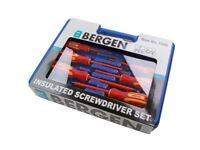 Bergen 7pc VDE Insulated Electricians Screwdriver Set in Case 1540