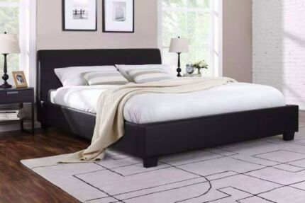 king size brand new black leather bed frame only , can delivery a