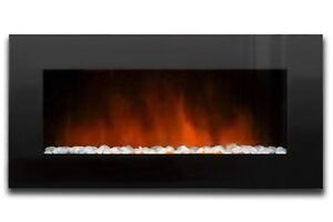 48-XXL-ELECTRIC-WALL-MOUNT-FIREPLACE-Crystal-Black-Glass-Pebbles-Ambionair-NEW
