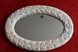 Shabby chic carved leaf framed mirror