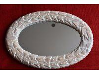 Shabby chic carved leaf framed mirror