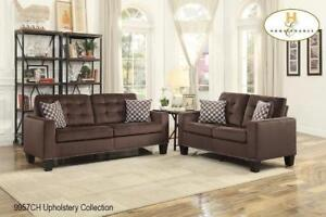 Brown Fabric Sofa and Loveseat at Reduced Price (BD-2490)