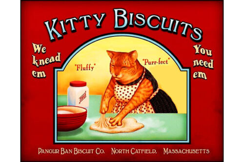 Cat Fridge Toolbox Magnet (3x2) Kitty Biscuits Kneed Dough Kitchen Apron Metal