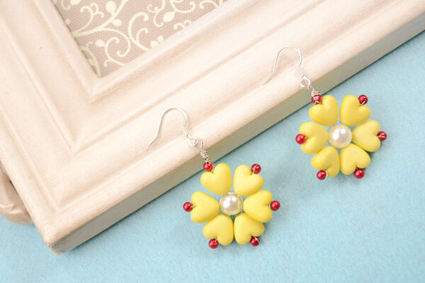 The final look of spring yellow flower earrings