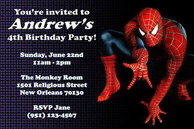 Spiderman Invitations - Personalized - Birthday Party - Shipped or - Printable Birthday Party Invitations