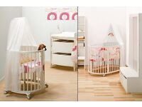STOKKE COT, crib, change table & accessories RRP £1200