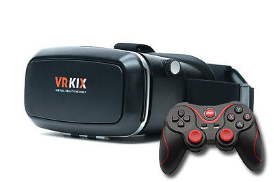 VR KIX Virtual Reality Headset 3D Glasses VR Goggles VR Viewer, Free VRKIX App,