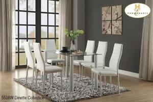 White Sleek Dinette 7PC Set - Online only Sale (MA285)