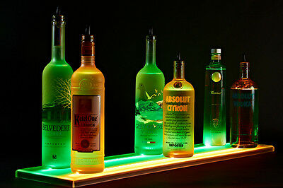 Armana Acrylic 8 Led Lighted Double 9 Wide Liquor Shelve Bottle Display0.75