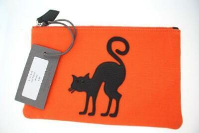 MZ Wallace NWT ORANGE POUCHETTE with Leather Black Cat Collectible Orange Black Leather