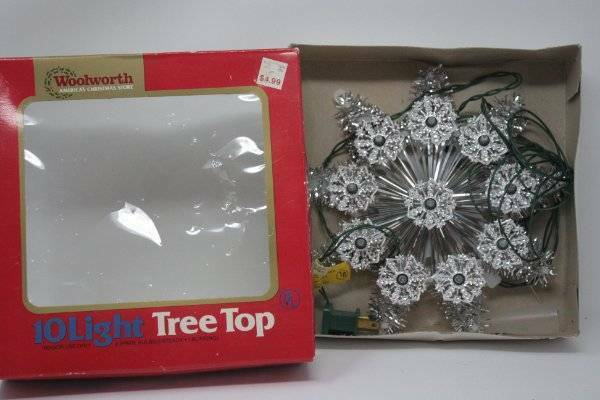 """Vintage Woolworth 10 Light Tree Topper Siver Reflectors Clear Lights 8"""""""