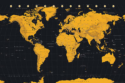 "MAP OF THE WORLD -  POSTER / PRINT (GOLD INK WORLD MAP) (SIZE: 36"" x 24"")"