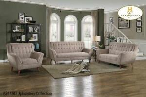 High Back 3 PC Sofa Set in Light Brown (BD-2422)