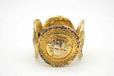 GIANNI VERSACE Vintage Size about12.5  Medusa Motif Coin Ring Gold a250j