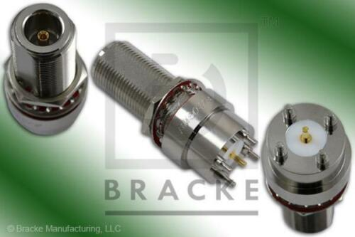 """N Female Bulkhead P.C. Mount Connector .062"""" Round Contact"""
