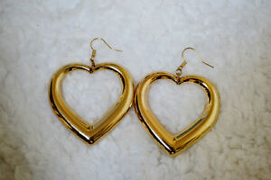 Gold oversize puffy heart dangle earrings Windsor Region Ontario image 1