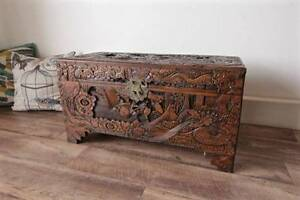 Large Antqiue Carved Camphor Wooden Chest Storage Blanket Box Hurlstone Park Canterbury Area Preview