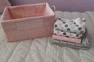 Swaddle Blankets and Pink Basket