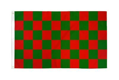 Checkered Red & Green Flag Banner 3' x 5' Polyester