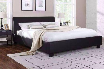 Brand new black leather modern design dobule size bed frame used
