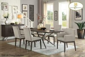 Wooden Dining Table with Fabric Chairs (BD-2372)